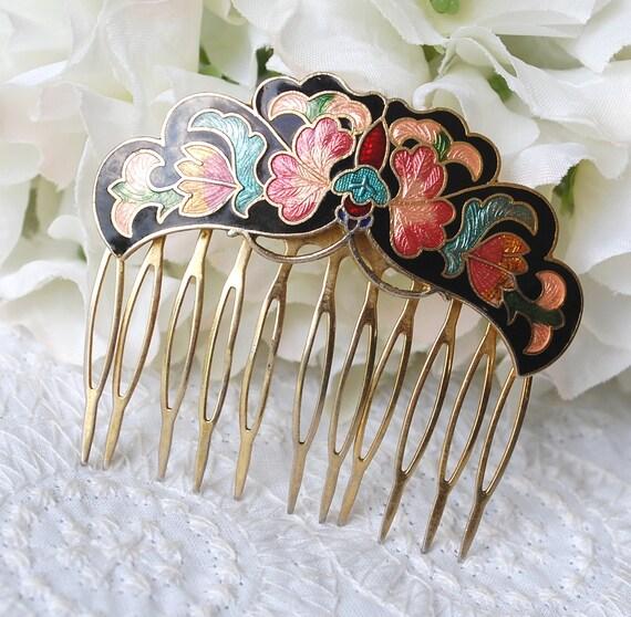 Vintage Hair Comb, Cloisonne Enamel, Ornate Floral Design, Flowers Leaves, Black Pink Green, 1980's Hair Accessories Jewelry