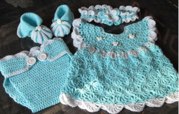 Handmade Baby Girl Crochet Dress, Head Band, Booties and Diaper cover Set
