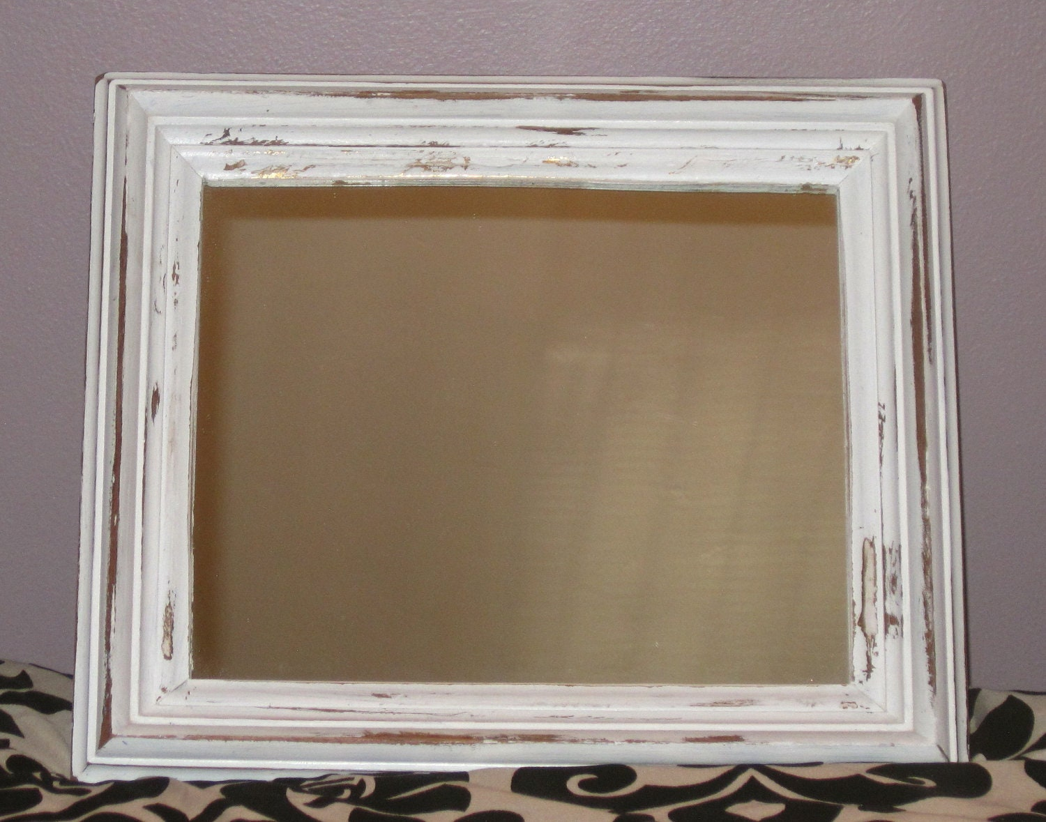 Shabby Beach Cottage Wood Framed Mirror Chunky Vintage