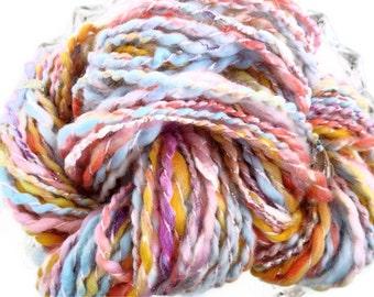 Hand Spun Yarn - Thick and Thin - Chunky - Bulky - Art Yarn - Pink
