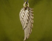 "Angel Wing Necklace Bronze Angel Wing Pendant on 32"" Gunmetal Chain - Angel Wing Jewelry"
