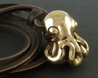 Octopus Necklace Bronze Octopus Pendant on Leather