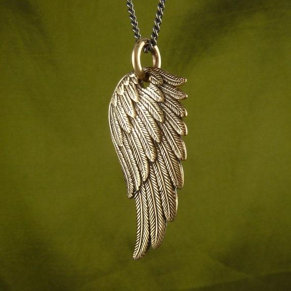 angel wing necklace bronze angel wing pendant on 32. Black Bedroom Furniture Sets. Home Design Ideas