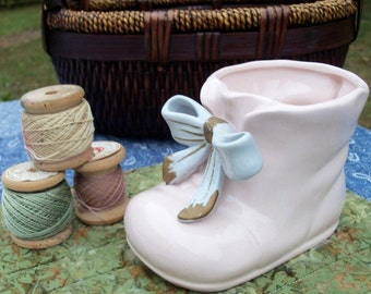 Planter Mid Century Baby Girl Pink Bootie Naapco Numbered Piece Flawless & Adorable