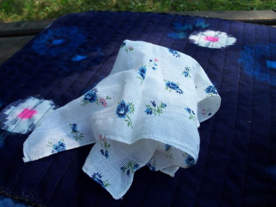Calico Irish Linen Handkerchief Handmade Early Century Nicest Hankie EVER Collectible Find