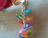 Beaded Purse Charm / Keychain / Wallet Charm / Kindle / Nook Charm - Spring Flowers with Swarovski Crystals, Glass, and Acrylic Beads