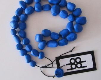Cobalt blue random pebble polymer necklace