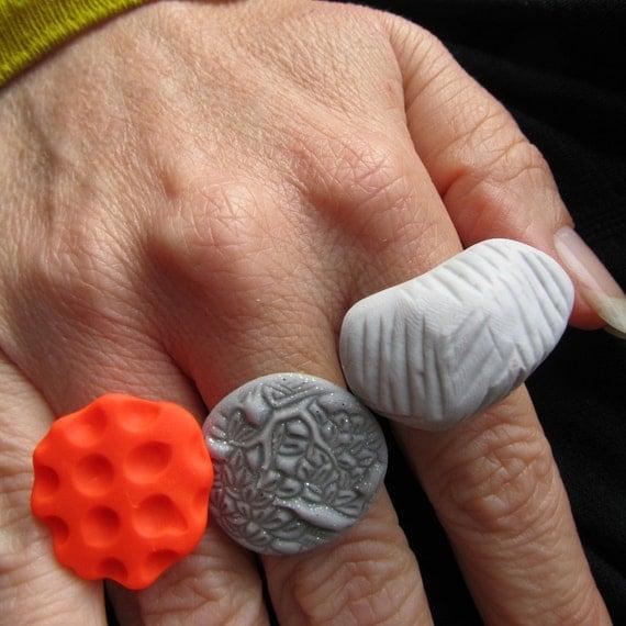 neon orange dot grid textured polymer clay fashion ring