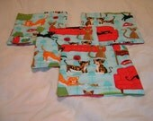 SALE Crazy Cat lady Reversible cotton hand-quilted coasters set of four sky blue, red, cats kitty