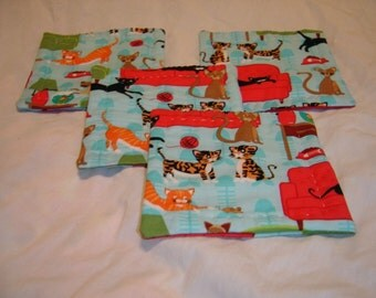 Crazy Cat lady Reversible cotton hand-quilted coasters set of four sky blue, red, cats kitty