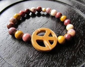 Balance & Nourish -inspirational crystal gemstone bracelet-boho yoga zen peace