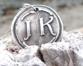 Personalized wax seal necklace monogram pendant jewelry in first and last initials, custom made to order