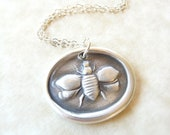Bee wax seal necklace pendant jewelry, made from reclaimed fine silver for Valentine's day