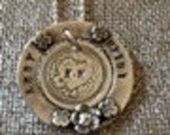 Silver Circle of Love Pendant stamped name pendant