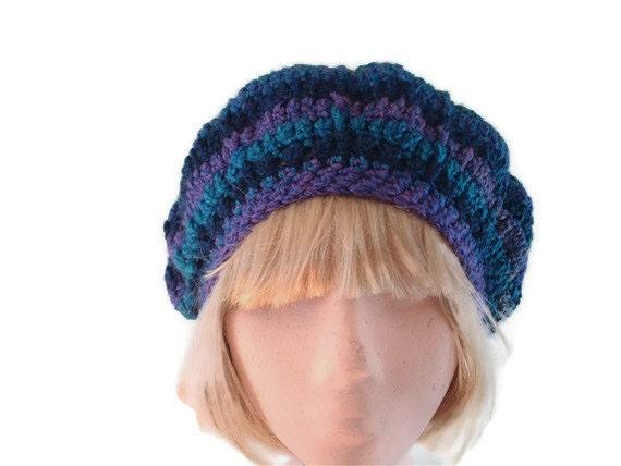 Crocheted Beret in Purple, Blue,Teal & Green