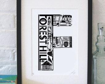 Best of Forest Hill - London print - London poster - London Art - Typographic Print - London illustration - letter art - South London poster