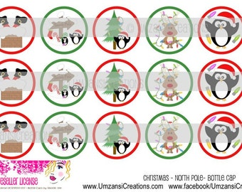 """15 Christmas - North Pole Digital Download for 1"""" Bottle Caps (4x6)"""