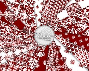 MAROON - Damask Digital Paper and Printable Backgrounds - Dark Red Digital Scrapbook Paper for Weddings - Instant Download (DP252C)