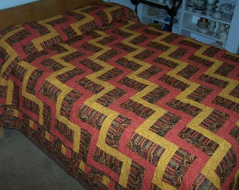 "CHRYSANTHEMUM Queen Size  90"" X 108"" Quilt in Rail Fence Pattern - Wedding Gift, Christmas Gift"