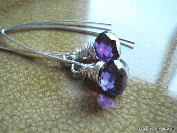 SUMMER SALE - Violets Are Blue - Amethyst Briolette Earrings