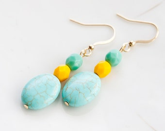 Blue Magnesite Bead Earrings Mint Turquoise and Sunglow Yellow Faceted Beads Summer Fashion - E189