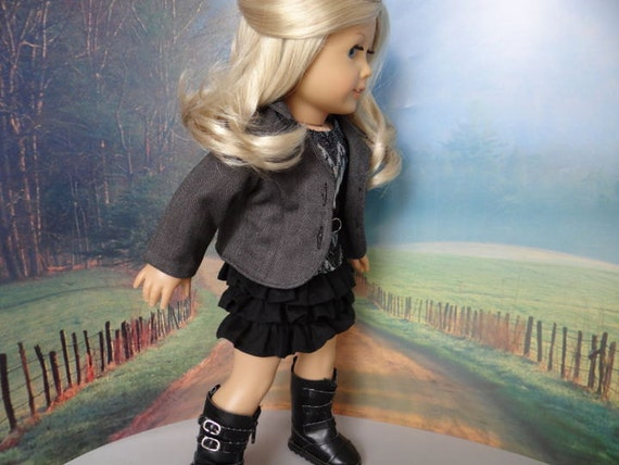 Blazer, ruffled skirt and tee for American Girl or similar 18 inch doll.