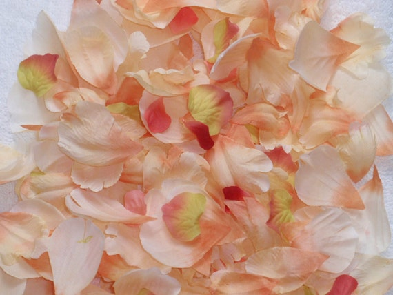 200 Silk Rose Petals CREAM ORANGE PEACH Wedding Flower Decorations Party Decorations Bridal