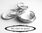 personalized silver bracelet, hand stamped aluminum bracelet, custom text, gift for her, handmade jewelry, custom stamped, inspirational