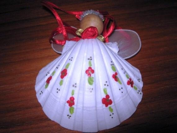 Vintage Seashell Angel Christmas Ornaments