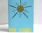 Hey There, Sunshine - Robin's Egg Blue & Lemon Yellow Hand Cut Hand Drawn Greeting Card - Envelope included