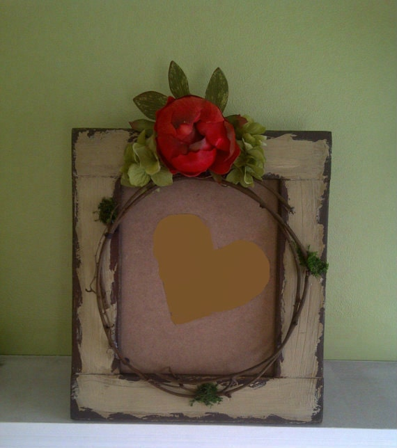 Embellished Rustic Wood Hydrangea Peony Picture Frame Floral Arrangement Home Decor