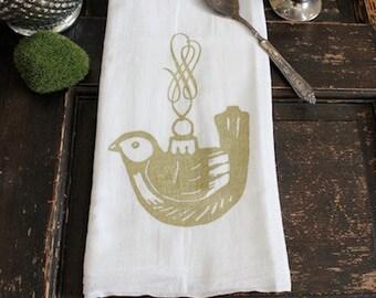 Christmas Towel-1 -Flour Sack Towel -Kitchen Towel- Vintage Ornament - Dish Towel- Vintage Christmas Decoration