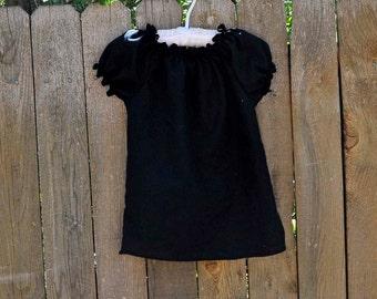 Black Peasant Shirt, Girls Blouse, Top...Black...Eco-friendly...12m,18m,2,3,4,5,6,7,8,10
