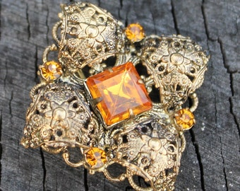 Vintage Orange Citrine Glass and Brass Filigree  Art Deco Brooch