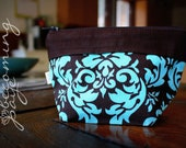 EcoFriendly Reusable Snack & Sandwich Bag Pair - Blue and Brown Damask
