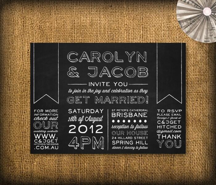 Diy Chalkboard Wedding Invitations: Wedding Invitation DIY Design Printable Custom Chalkboard