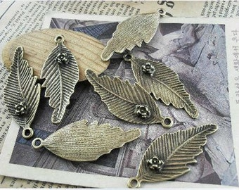 10 pcs 17x44mm  Ancient Bronze Rose with  leaves Charm Pendant