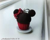 Minnie Mouse Cupcake - Pendant - Miniature Food