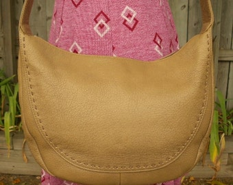 vintage 80s taupe leather hobo satchel purse bag top stitching detail