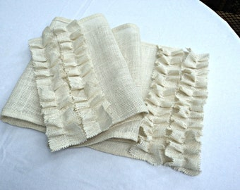 Select Your Size Burlap Table Runner with Ruffles