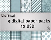 3 Digital paper packs (for the price of 2). Polka dot, gingham, stripes, geometrical, hibiscus, stripes, retro... Commercial use
