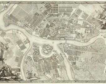 1753 Map of St. Petersburg, Russia