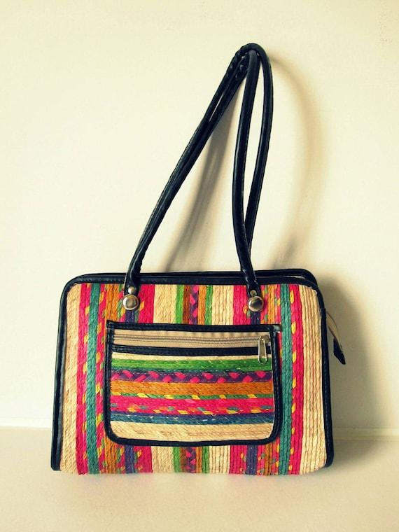 Rare Vintage 1970s Multicolored Woven Straw Handbag