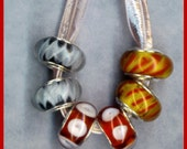 Lampwork Murano Beads Amber Red Black White Silver Core Glass Lot 6  or 3 PAIR
