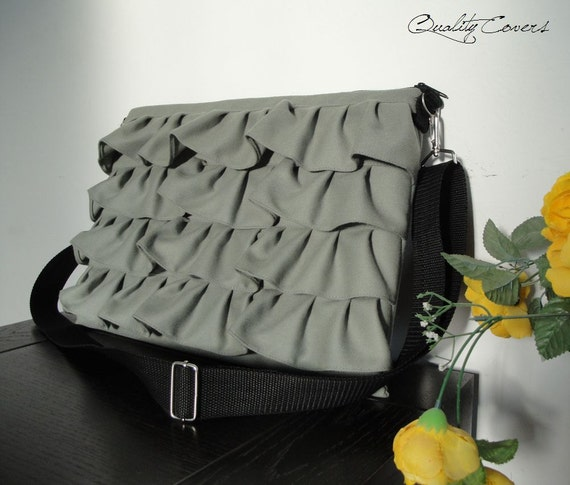 Green Laptop bag PADDED - can be any size and color / Strap - ruffle - 2 Zippers - water RESISTANT lining - Hidden POCKET