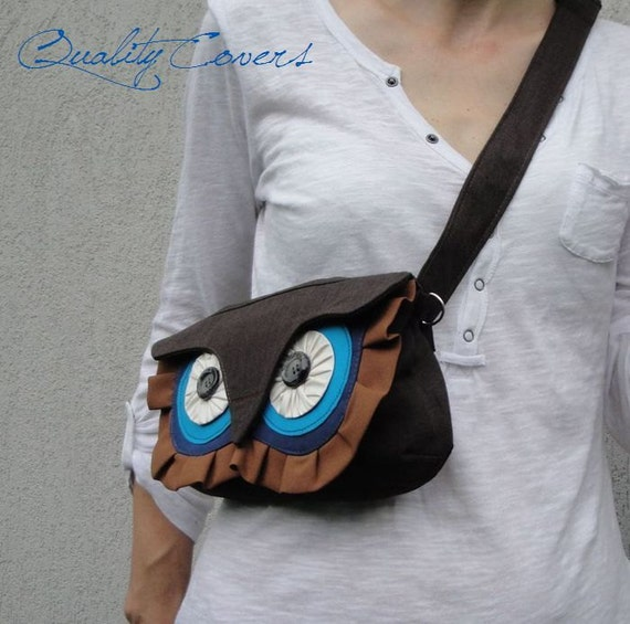 Convertible OWL Clutch bag with 2 Straps Brown or any color /free 8 interior POCKETS /WATERPROOFwaist purse/shoulder bag/cross-body