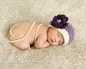Newborn hat - vintage style for dressing up baby girl's photos with deep purple flower and pearls in center -- also beret style
