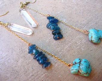 rock crystal,electric blue kyanite,and turquoise chain earrings