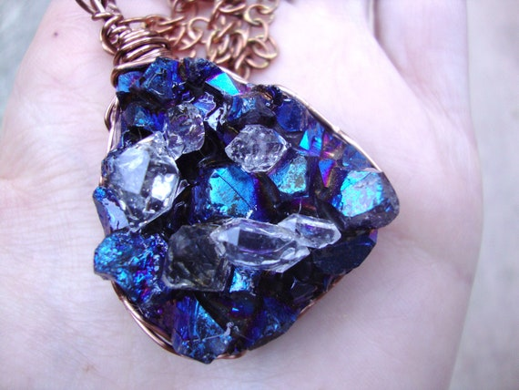 HUGE aura crystal druzy  with beautiful raw herkimer diamonds  and copper wrapped necklace