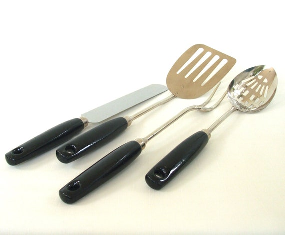 Vintage kitchen utensil set ekco a j black wood handle for Handle kitchen set
